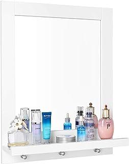 Homfa Espejo Baño Espejo de Pared con 1 Balda y 3 Ganchos