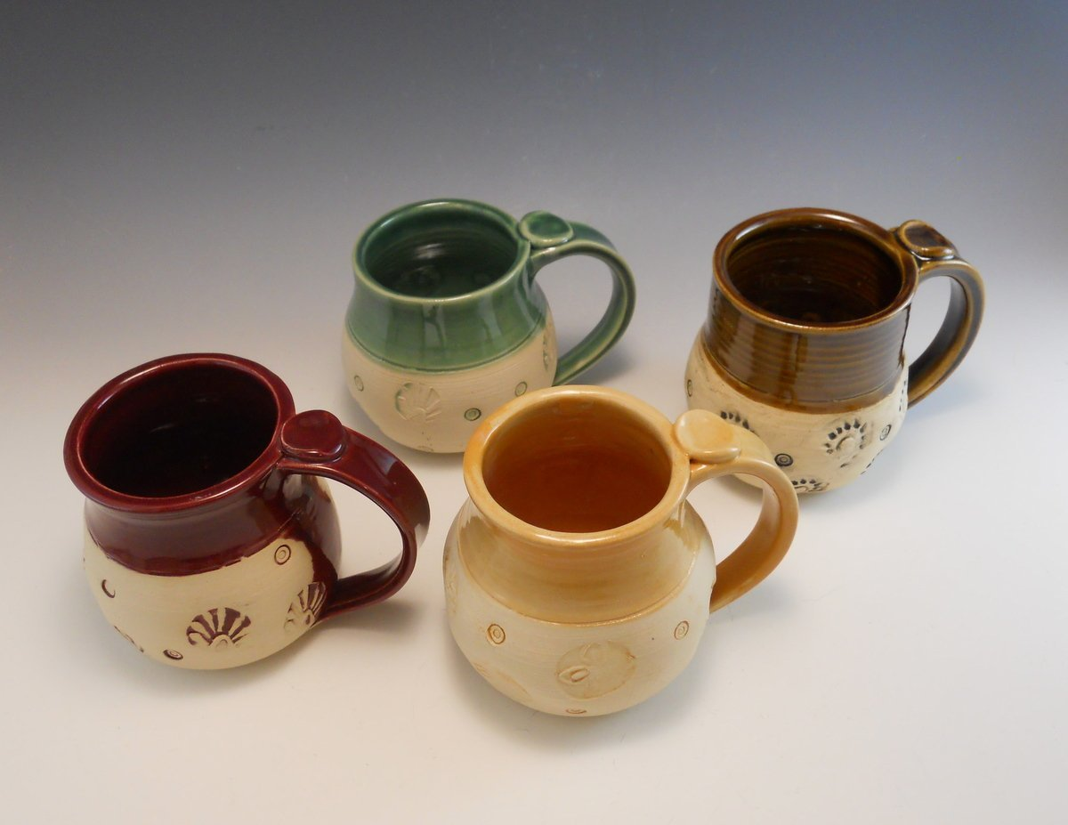Set of 4 Max 81% OFF Hand Made Pottery Multi H Mugs Colored Mail order Four