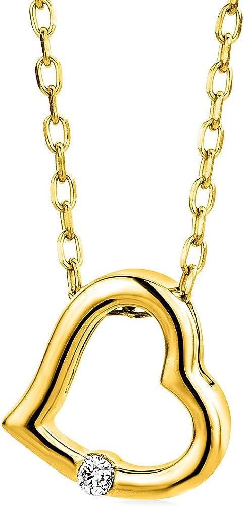 Miore,collana da donna,in oro 9/375(1,25 gr) con ciondolo a forma di cuore e diamante solitario 0,01 ct M9173N