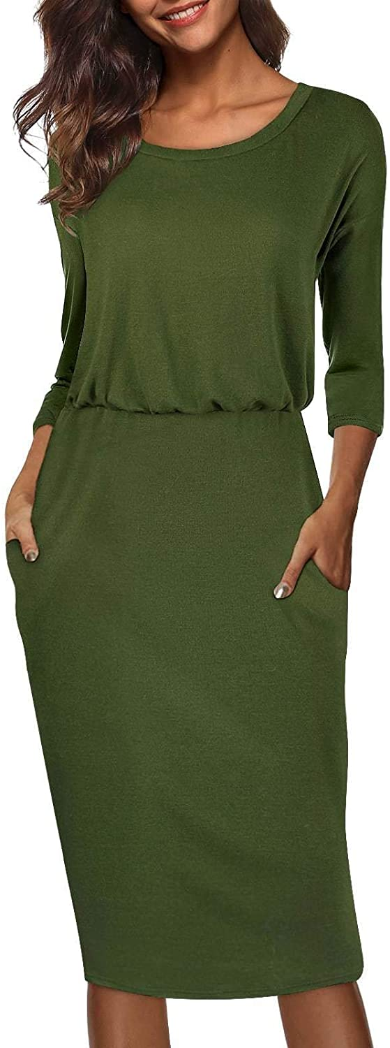 Moyabo Women's 3/4 Sleeve Round Neck Hips-Wrapped Casual Office Pencil Dress