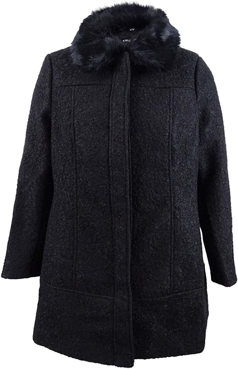 City Chic Women's Apparel Women's Boucle Fitted Coat with Faux Fur Collar Trim