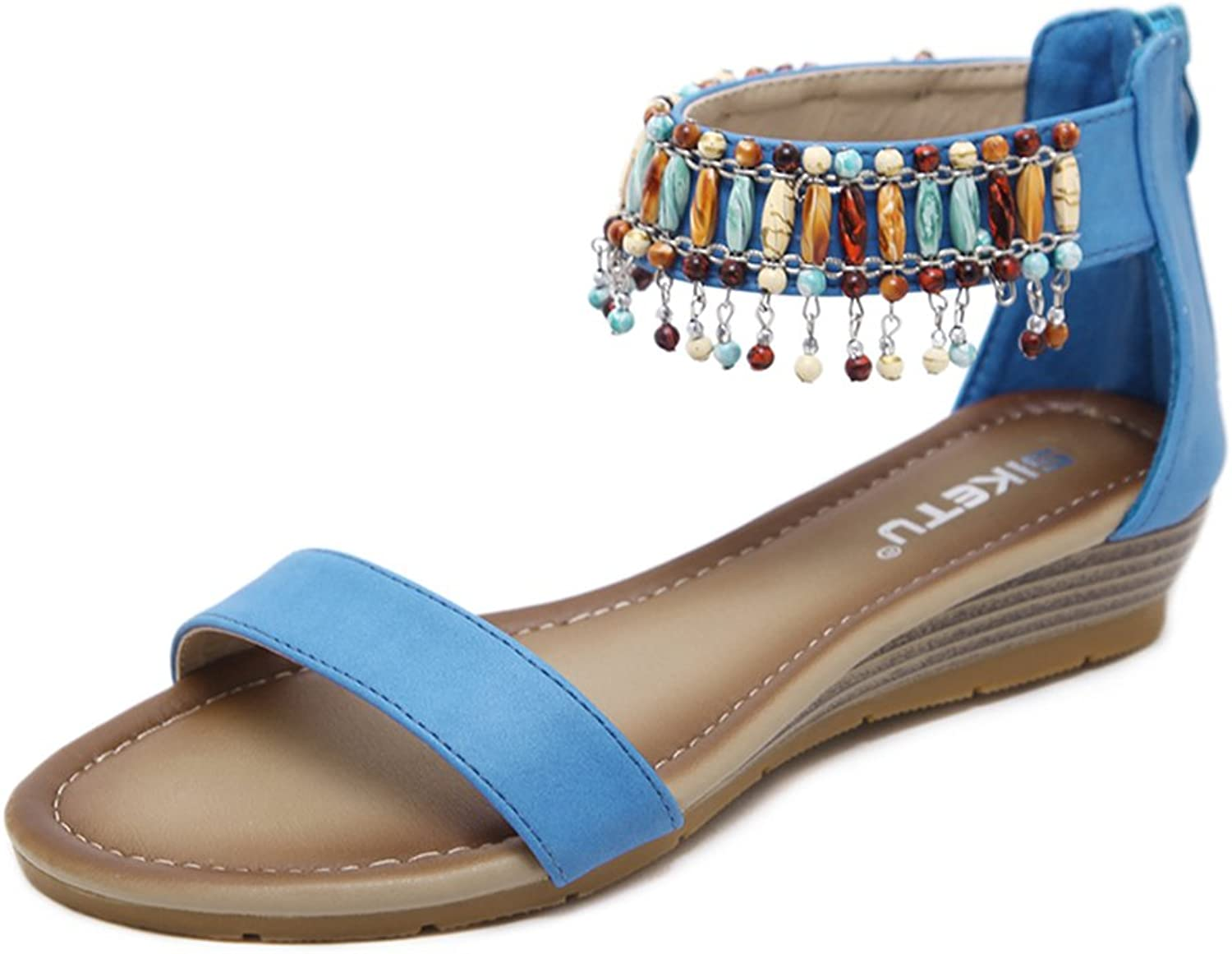 Navoku Women's Beaded Leather Zipper Outdoor Sandles Ladies Sandals