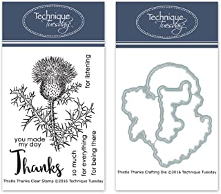 Thistle Thanks Clear Stamps with Matching Metal Dies | Flowers Rubber Stamps | Clear Rubber Stamps | Photopolymer Stamps | Die Cuts | Craft Dies | Card Making Supplies