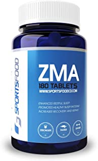 Sports Food ZMA - Natural Sports Recovery and Sleep Aid Supplement - 500mg x 180 Vegetarian Tablets - Faster Recover from Exercise and Deeper Sleep for Men and Women - SNAC Researched Formulation