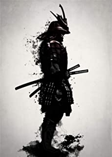 Artwu Japanese warrior samurai Wall Art Home Wall Decorations for Bedroom Living Room Oil Paintings Canvas Prints-987