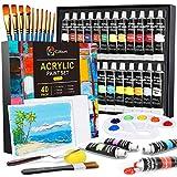 Gifort Peinture Acrylique, 24 Couleurs (24 x 22 ML) Peinture Acrylique en Tube pour Enfant Débutants Artistes, Pigments Riches, avec 10 Pinceaux 2 Toile 1 Palette pour Pierre, Bois, Papier, Céramique