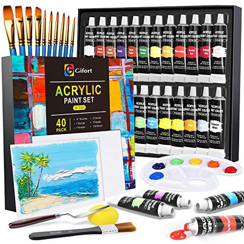 Gifort Set di Colori Acrilici per Dipingere, Set Pittura Acrilica da 24 X 22 ML con 10 Pennellin + 2 Tela + 1 Tavolozza, Colori Brillanti, Sicuro per Bambini, per Carta, Roccia, Legno, Ceramica