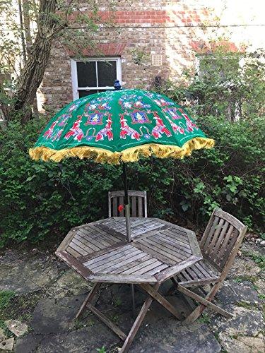 Bazzaree Garten-Samt-Sonnenschirm, handgefertigt, Bestickt, indischer Outdoor-Sonnenschirm, 119,4 cm