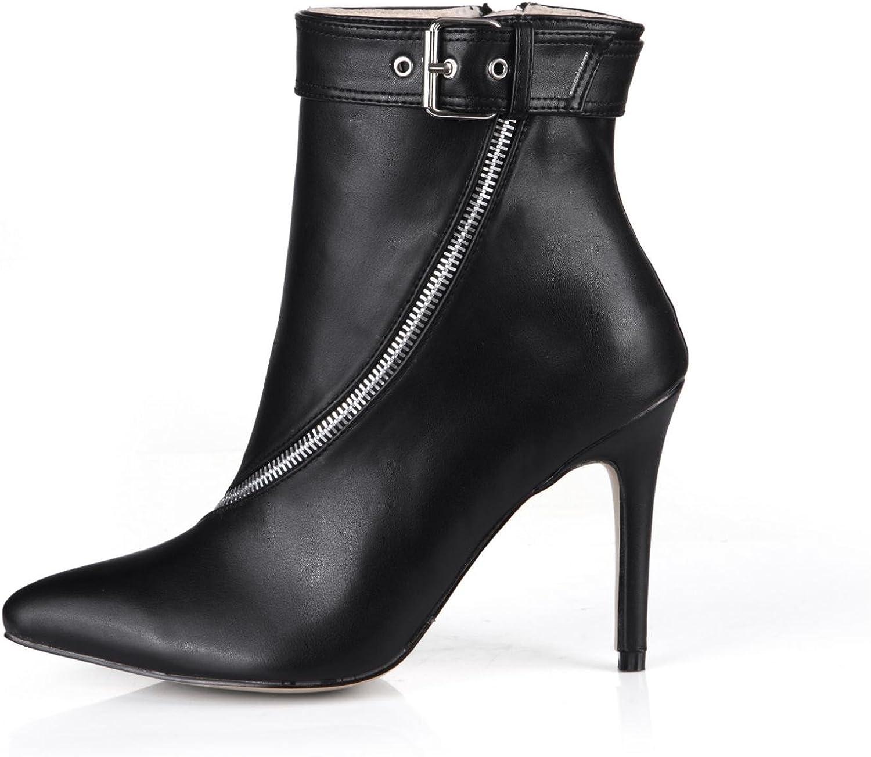 KUKIE Best 4U Frauen Frühling Herbst Schuhe Premium PU spitz 9.7 cm High Heels Gummisohle Eine Schnalle Reiverschluss Pumpen Schwarz