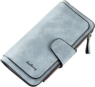 AHOMI Daily Clutch Long Wallet Women Leather Zipper Purse Card Holder for Adult Carry-on Ornaments and Collecting Light Blue