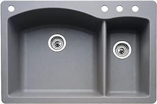 Blanco 440198-4 Diamond 4-Hole Double-Basin Drop-In or Undermount Granite Kitchen Sink, Metallic Grey