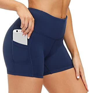 CongYee Yoga Shorts for Women Workout Running Shorts with Side Pockets, Tummy Control Gym Bike Athletic Legging Shorts 5''