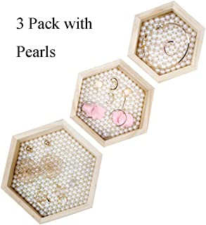DesignSter 3PCS Pine Wood Jewelry Trays with Pearls - Rustic Original Wooden Hexagon Showcase Display Organizer for Ring, Earring, Necklace, Bracelet, Watch at Home, Countertop, Dresser