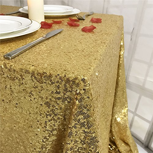 "TRLYC 55""X55"" Seamless Gold Sequin Tablecloth Sparkly Shimmer Decoraiton Tablecloth Overlay for Weeding Party"