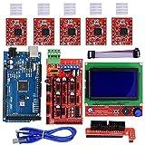 Vrsupin0 Impresoras Partes Set Profesional A4988 Bricolaje Duradero Disipador de Calor Rampas 1.4 Recambio Tarjeta Expansión Accesorios Motor Pasos Conductor LCD Controlador Mega2560 Kit para Arduino