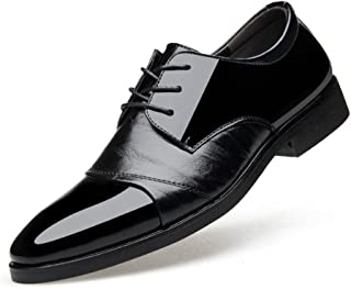 Business Shoes Mens Dress,Spring Fall Pointed Toe Leather Shoes, Lace Up Wedding Fashionable Office Shoes, Casual Flat Brown Black,Black,44