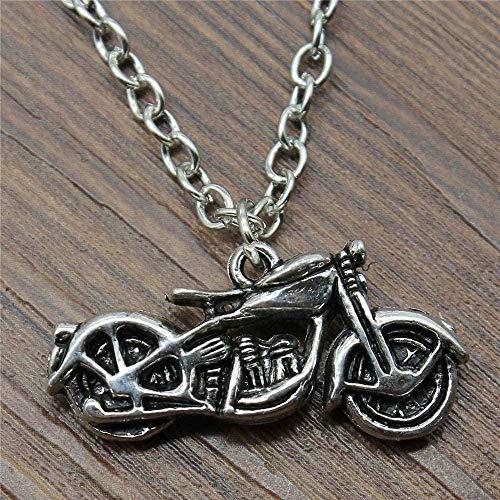 Yiffshunl Collar 3D Color Bronce Antiguo Collar con Colgante de Motocicleta 34X16X8Mm para Mujer Collar de Regalo Vintage Regalo