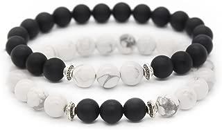 Long Distance Couples Bracelets 8mm Howlite & Natural Stone Beads 2 Pieces, 7.5
