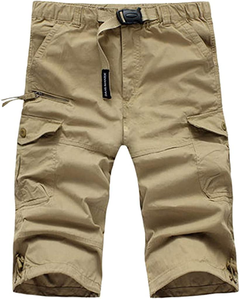 Cargo Shorts Forthery Men's Summer Solid Color Relaxed Tied Rope Multi-Pocket Beach Work Trouser Cargo Shorts Pant