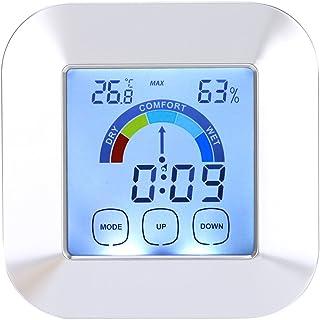Thermomètre Hygromètre Numérique Intérieur Horloge Numérique avec 3 Touches Tactiles à Haute Sensibilité Moniteur D'humidi...