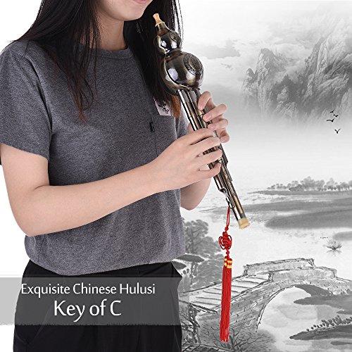 Kalaok Splendido filo metallico disegno cinese Hulusi zucca cucurbita flauto etnica vento strumento musicale Chiave di C materiale in alluminio rame placcato per principianti amanti della musica