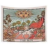 Tapices de tarot de Jawo, girasol, diseño de caballo de sol misterioso de Europa medieval, tapices para colgar en la pared, decoración de recámara para sala de estar, recámara, colcha de 180 x 60...