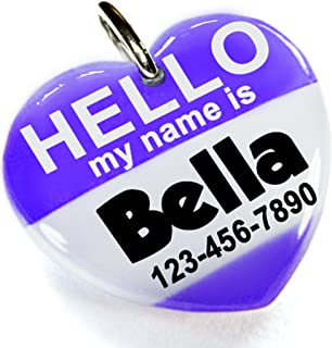 ID4Pet Eggplant Hello My Name is Heart Shape Pet ID Tag