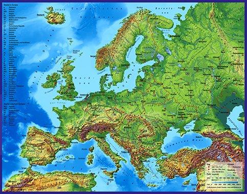3D - Landkarte Europa mit Städten 60 x 47 cm Karte