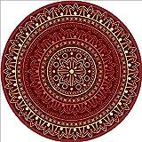 EmyTock Alfombra redonda de algodón, diseño étnico europeo, alfombra redonda, 100 cm de diámetro