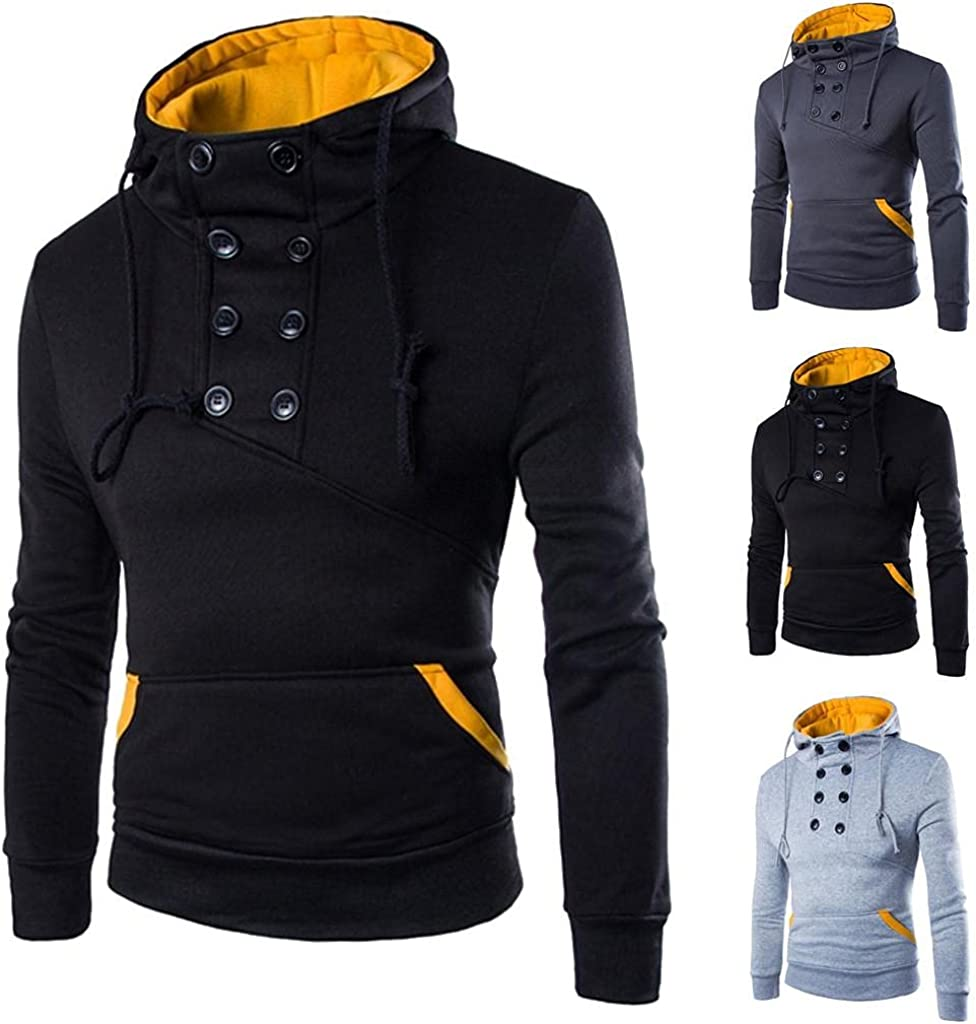 Aayomet Hoodies Sweatshirts for Men Fashion Solid Tops Long Sleeve Workout Hooded Pullover Shirts Blouses