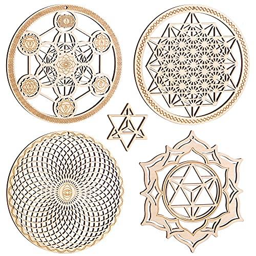 Juego de 4 piezas de arte de pared de geometría sagrada de 5,3 pulgadas (cubo metatron con, torus, 64 tetraedro, tetraedro estrella) chakra rejilla de cristal meditación yoga decoración de ehabitación