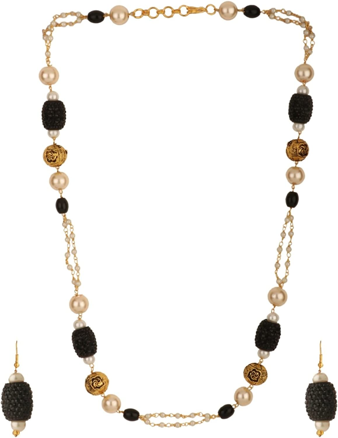Efulgenz Indian Layered Traditional 14 K Gold Plated Black Faux Pearl Beads Strand Necklace Earrings Set Fashion Costume Jewelry for Women
