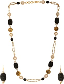 Indian Layered Traditional 14 K Gold Plated Black Faux Pearl Beads Strand Necklace Earrings Set Fashion Costume Jewelry for Women