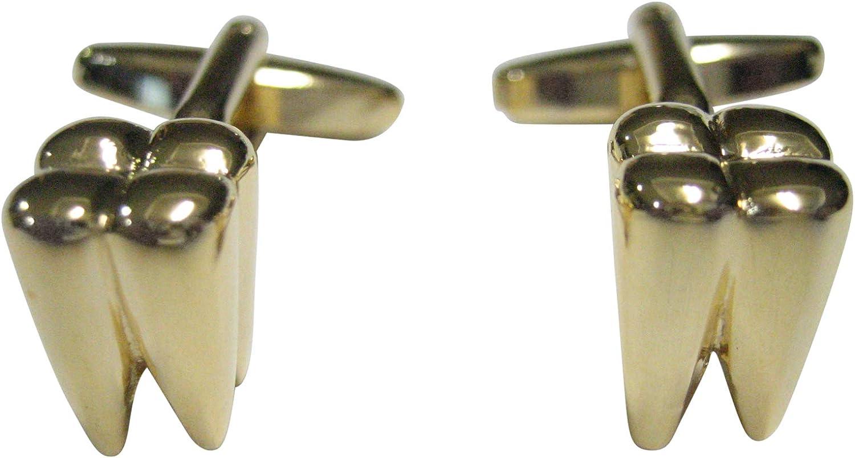 Kiola Designs Gold Toned Shiny Dental Tooth Teeth Cufflinks