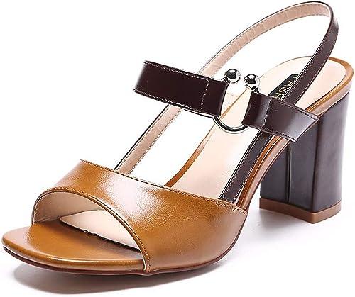HBDLH Chaussures pour femmes 7Cm Talon Sandales été Difficile Boucles Pieds Nus Tard Le Soir des Chaussures De Femme.