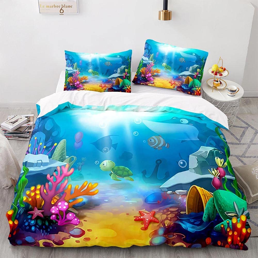 Sea Turtle We OFFer at cheap prices Fish Coral Duvet Dream Cover 173x218cm Feather Catche Max 82% OFF