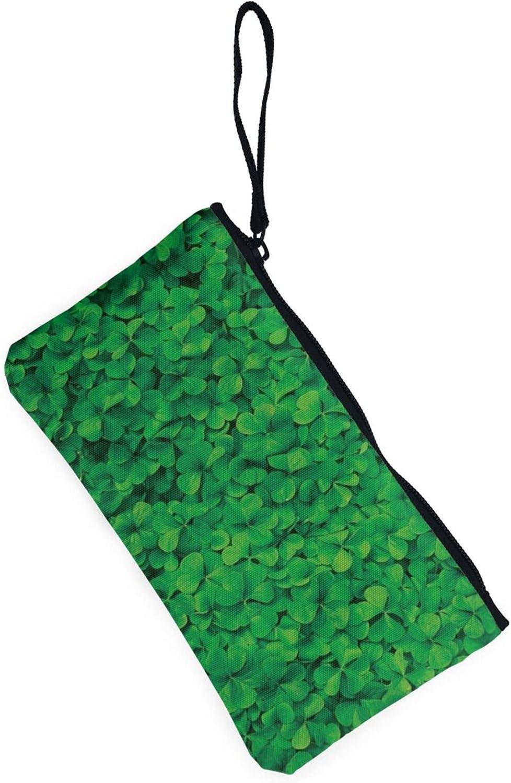 AORRUAM Many Green clover Canvas Coin Purse,Canvas Zipper Pencil Cases,Canvas Change Purse Pouch Mini Wallet Coin Bag