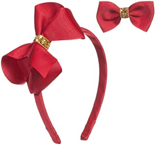 2 Pcs Red Bow Headband Hair Alligator Clips with Gold Sequin Bowknot Set, Girl Women Party Cosplay Christmas Hair Accessories, Elegant and Shiny Hairstyles to Look Extra Girly