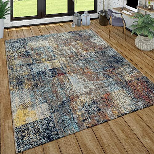 Tapis Poils Ras Salon Aspect Usé Patchwork Style Industriel Moderne Coloré, Dimension:160x220 cm