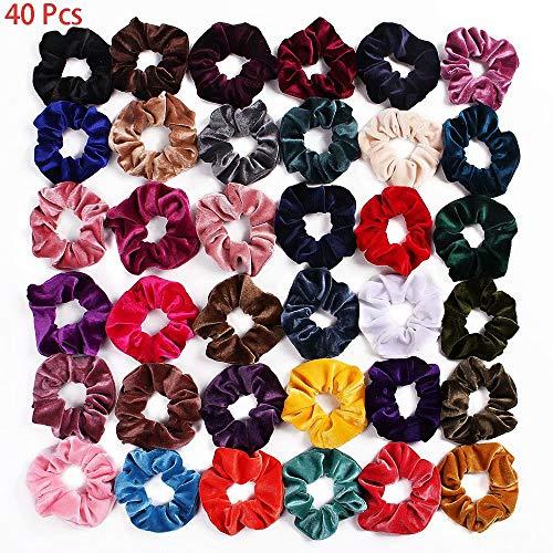 Doyeemei lazos de pelo de terciopelo Bobbles de fijación fuerte 40 piezas de gomas para el pelo de terciopelo de colores anillo de pelo de terciopelo sin rastro, accesorio de cuerda para mujer bandas