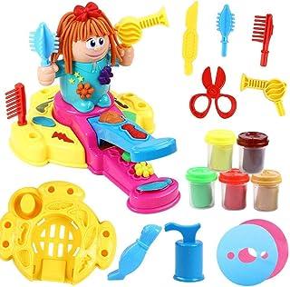 Howade Hairdresser Play Clay Dough Toy Tool Set,Handmade DIY Creative 3D Color Mud Barber Toy-Hair Grow Design Cut Comb Ro...