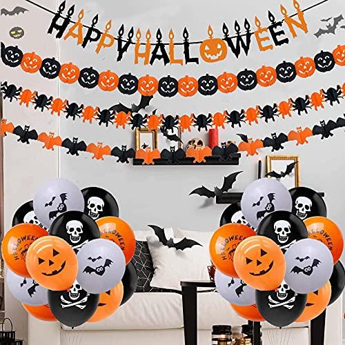 Halloween Decorazioni, Set di Decorazioni Per Feste di Halloween, Palloncini, Fiori Zucca Ecc, Il Set di Decorazioni Halloween è Adatto Per la Decorazione Feste Halloween