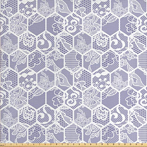 Lunarable Mauve and White Fabric by The Yard, Honeycomb Mesh Pattern Nostalgic Retro Floral Antique Ornaments Print, Decorative Fabric for Upholstery and Home Accents, 2 Yards, White Mauve