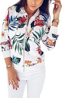 wyssutongus Women's Floral Print Zipper Lightweight Bomber Jacket Casual Long Sleeve Coat