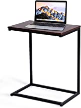 Tangkula Sofa Side End Table, C Shaped Table Laptop Holder, End Stand Desk Coffee Tray Side Table, Notebook Tablet Beside Bed Sofa Portable Workstation, Over Bed Table (Walnut)