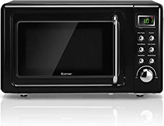 COSTWAY Retro Countertop Microwave Oven, 0.7Cu.ft, 700-Watt, Cold Rolled Steel Plate, 5 Micro Power, Delayed Start Function, with Glass Turntable & Viewing Window, LED Display, Child Lock (Black)