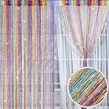 2 Pièces Panneaux de Rideau de Corde Brillants Rideau de Fils en Coton Rideaux Moustiquaires de Fenêtre Porte, 100 x 200 cm (Multicolore)