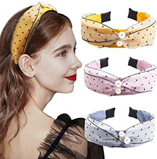 3 Pcs Hogoo Pearl Headbands Knotted Hairbands Fashion Gauze Fabric with Faux Pearls Knot Headband Vintage Wide Head Bands Hair Accessories for Women