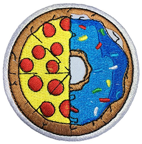 Papapatch Half Pizza & Donut Food Logo Cooking Chef Kid Baby Symbol Jacket T-shirt Costume DIY Applique Embroidered Sew Iron on Patch (IRON-HALF-PIZZA-DONUT)