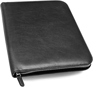 personalized leather padfolio with zipper